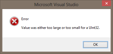 VisualStudio2012_bug_value_was_either_too_large_or_too_small_for_a_uint32